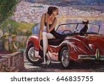 Small photo of picture, girl, lady with a retro car, classic car, evening, little doggy, Sea, sea wind, coast, beach, oil painting, artist Roman Nogin, bright paints, brush texture, vibrant colors