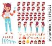 flat vector girl character for... | Shutterstock .eps vector #646841311