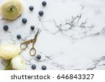 flat lay  top view of office... | Shutterstock . vector #646843327