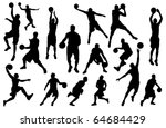 Silhouettes Of Basketball...