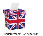 Great Britain election ballot box and voting paper. UK Vote. 3D Rendering