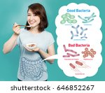 young woman who eats yogurt ... | Shutterstock . vector #646852267