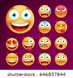 set of cute emoticons on black... | Shutterstock .eps vector #646857844