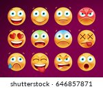 set of cute emoticons on black... | Shutterstock .eps vector #646857871