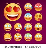 set of cute emoticons on black... | Shutterstock .eps vector #646857907