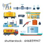 set of oil industry facilities  ... | Shutterstock .eps vector #646859947