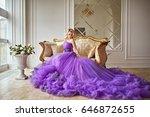 girl in violet dress | Shutterstock . vector #646872655