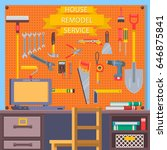construction concept with flat... | Shutterstock .eps vector #646875841
