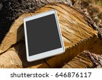 close up of digital tablet on a ... | Shutterstock . vector #646876117