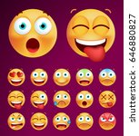set of cute emoticons on black... | Shutterstock .eps vector #646880827