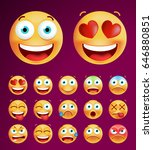 set of cute emoticons on black... | Shutterstock .eps vector #646880851