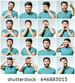 set of handsome emotional man... | Shutterstock . vector #646885015