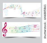 abstract line wave notes music... | Shutterstock .eps vector #646885861