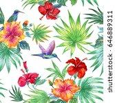seamless watercolor tropical...   Shutterstock . vector #646889311