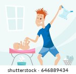 young father changing baby s... | Shutterstock .eps vector #646889434