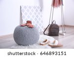 knitted pouf with clothes in... | Shutterstock . vector #646893151