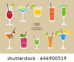 set of  funny cocktails.... | Shutterstock .eps vector #646900519