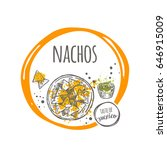 nachos. taste of mexico. hand...   Shutterstock .eps vector #646915009