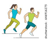 jogging man and woman  line...   Shutterstock .eps vector #646916275