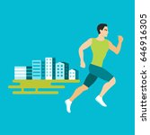 jogging man in a city  flat...   Shutterstock .eps vector #646916305