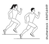 jogging man and woman  line...   Shutterstock .eps vector #646916449