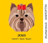 2018 happy new year greeting... | Shutterstock .eps vector #646929754