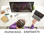 young programmer at workplace | Shutterstock . vector #646936474