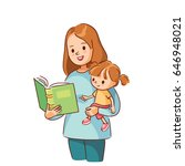 mom reading a book for baby | Shutterstock .eps vector #646948021