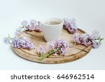 springtime. cup of tea and... | Shutterstock . vector #646962514