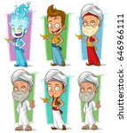 cartoon arabic persian and fire ... | Shutterstock .eps vector #646966111