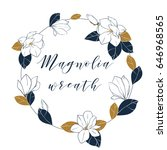graphic magnolia wreath in deep ...