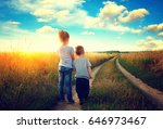 little boy and girl in the... | Shutterstock . vector #646973467