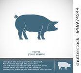 silhouette of pig vector... | Shutterstock .eps vector #646974244