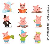 funny little pigs in different... | Shutterstock .eps vector #646988119