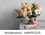 bridal vintage bouquet. the... | Shutterstock . vector #646991215