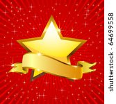 golden star and a flag on a red ... | Shutterstock . vector #64699558