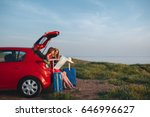 two young girls going to travel ... | Shutterstock . vector #646996627