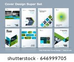 Abstract vector business template set. Brochure layout, cover modern design annual report, poster, A4 flyer with green squares, triangles, diagonal geometric shapes lines with texture background.  | Shutterstock vector #646999705