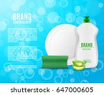 dishwashing liquid bottle with... | Shutterstock .eps vector #647000605