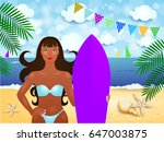 summer illustration with... | Shutterstock .eps vector #647003875