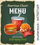 retro fast food chicken burger... | Shutterstock .eps vector #647007169