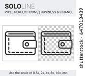 pixel perfect solo line wallet... | Shutterstock .eps vector #647013439
