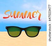summer poster with lettering... | Shutterstock .eps vector #647023477