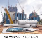 blueprints and tablet on office ...   Shutterstock . vector #647026864
