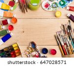 paints  brushes and palette on... | Shutterstock . vector #647028571