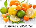 Citrus Fresh Fruit On The Whit...
