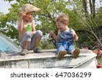 young country brothers laughing ... | Shutterstock . vector #647036299