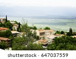 panoramic view of a small town... | Shutterstock . vector #647037559
