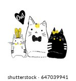 Cutie Cat Family Illustration