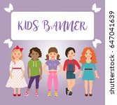 kids banner with girls on pink... | Shutterstock .eps vector #647041639